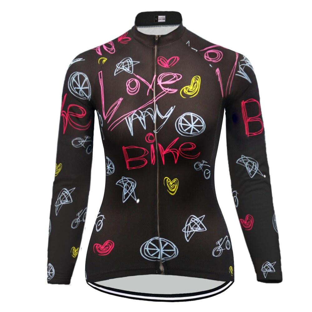 Women's long sleeves winter fleece cycling Jersey or no fleece jersey mujer ropa ciclismo black biek clothing MTB
